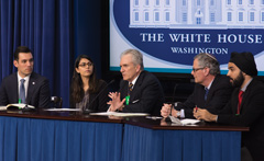 Brent Walker ((center) speaks on a panel with other faith leaders at a White House convening on religious tolerance, held in 2015. (BJC photo)