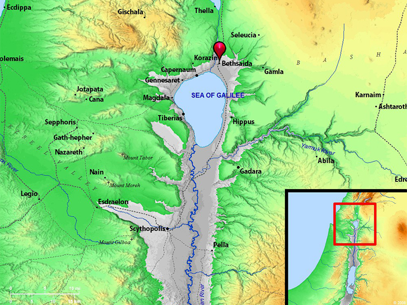 An approximate map of Bethsaida near the northern banks of the Sea of Galilee in northern Israel. Map courtesy of Biblos.com