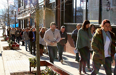During the first week in their new headquarters, LifeWay employees prayerwalked around the campus asking God to multiply the SBC entity's impact around the world and to be a light in the Nashville community. (Aaron Wilson/LifeWay)