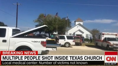 The 14-year-old daughter of a Southern Baptist pastor was among at least two dozen people killed when an armed man opened fire during Sunday morning (Nov. 5) worship services at First Baptist Church in Sutherland Springs, Texas, a Southern Baptist congregation about 35 miles southeast of San Antonio. Screen capture from CNN