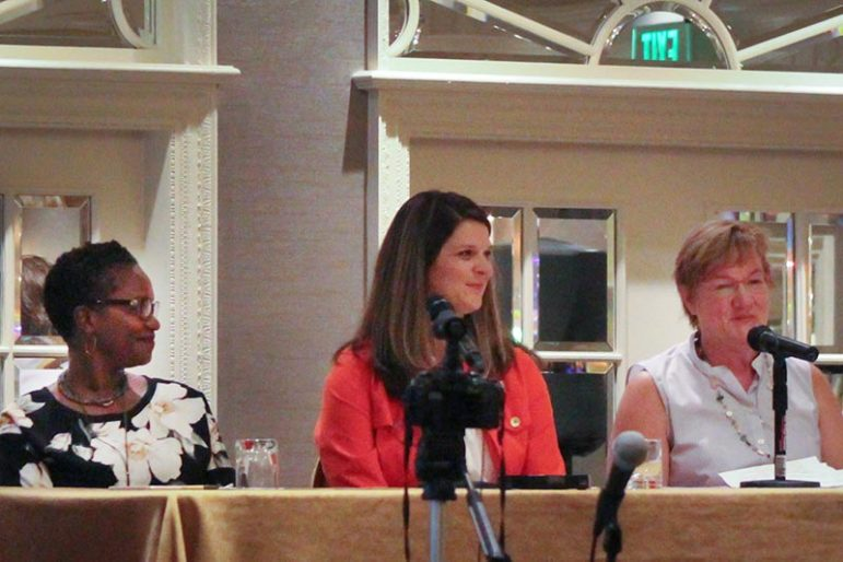 A panel of Nashville, Tenn.-area pastors' spouses — Dorena Williamson, Jill Ross and Lisa Rhea — at the Religion News Association meeting in Nashville, Tenn., on Sept. 9, 2017. RNS photo by Adelle M. Banks