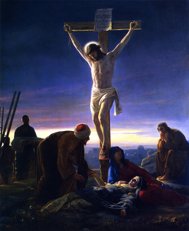 """Christ on the Cross,"" by Carl Heinrich Bloch from 1870, showing darkened skies. Image courtesy of Creative Commons"
