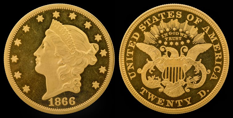 The 1849 liberty head design by James B. Longacre. National Numismatic Collection, National Museum of American History via Wikimedia Commons.