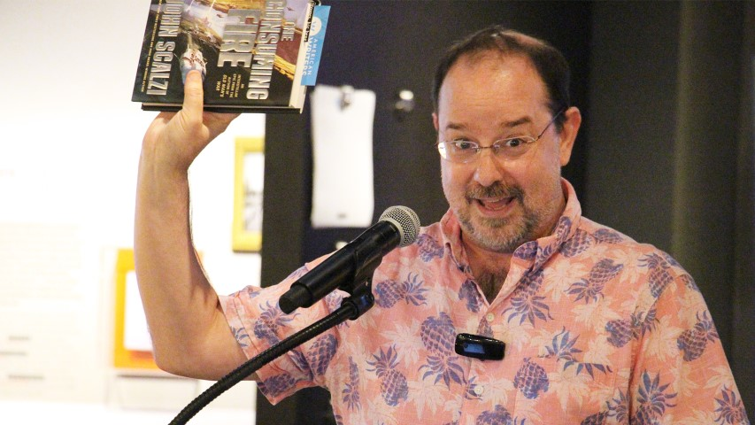 "Science-fiction author John Scalzi speaks about his new book, ""The Consuming Fire,"" on Oct. 22, 2018, at the American Writers Museum in Chicago. RNS photo by Emily McFarlan Miller"