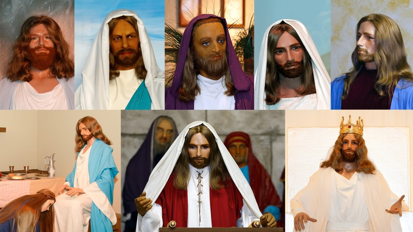 A variety of the versions of Jesus used at BibleWalk. RNS photos by Paul Vernon