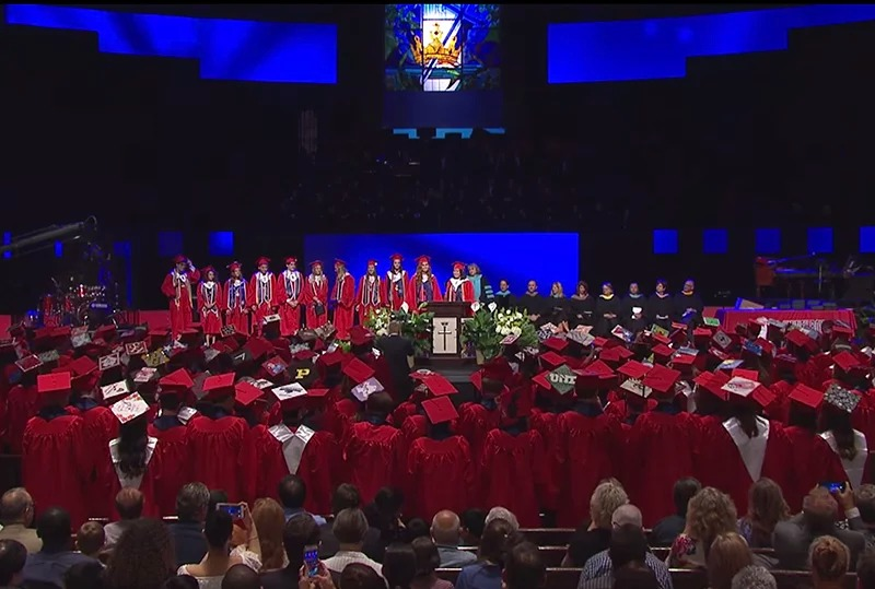 The McKinney Boyd High School 2017 Graduation at Prestonwood Baptist Church in Plano, Texas, on June 2nd, 2017. Screenshot via McKinney schools video