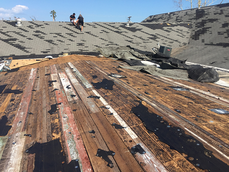 Damage to the roof of the Rockport Assembly of God Church after Hurricane Harvey in Rockport, Texas. (Photo courtesy of Becket Law Firm)