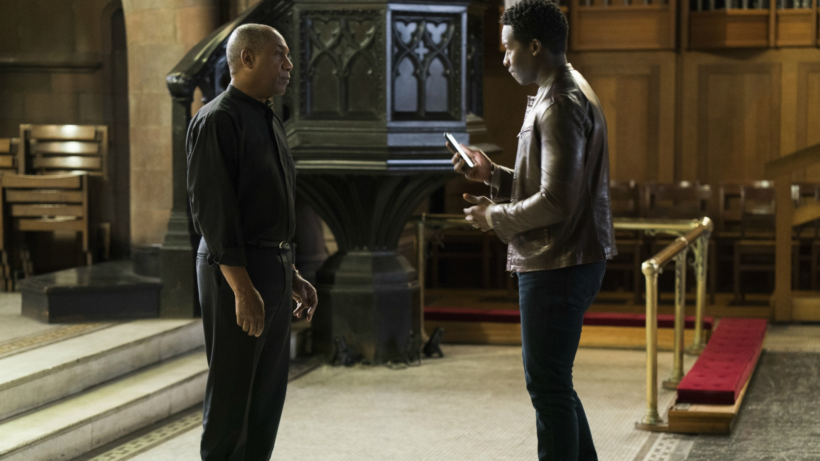 "Joe Morton, left, and Brandon Micheal Hall star in ""God Friended Me,"" in which Hall's character, Miles Finer — the atheist son of an Episcopal priest, played by Morton — receives a friend request from God on social media. Photo courtesy of Jonathan Wenk/CBS Broadcasting Inc."
