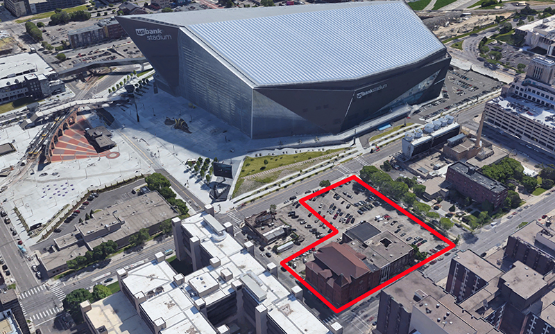First Covenant Church, outlined in red, in proximity to U.S. Bank Stadium in Minneapolis. (Image courtesy of Google. Illustration by Kit Doyle)