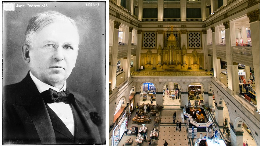 John Wanamaker, left, and the Grand Court interior of his original Philadelphia store, which is now a Macy's. Photos courtesy of Creative Commons